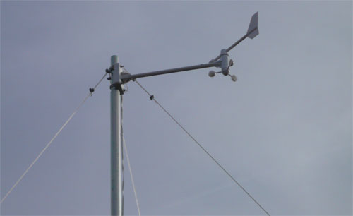 Wind vane and anemometer detail